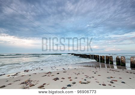 Kuznica Beach On The Baltic Sea And Beautiful Sky With Clouds