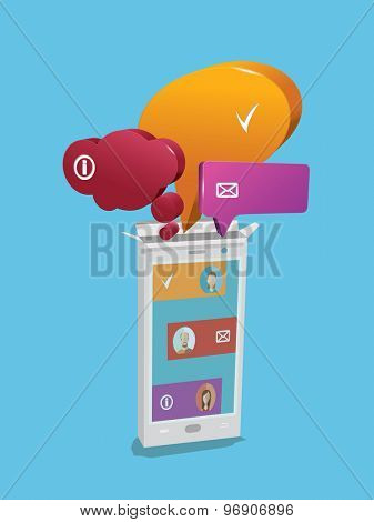 Speech bubbles from smartphone. Vector illustration concept.