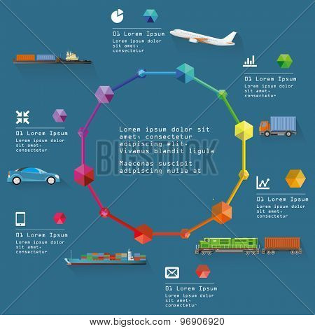 Transportation design infographic elements. Eps 10 Vector Illustration.