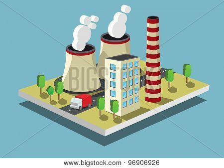 Industrial concept  factory or power plant Isometric vector illustration