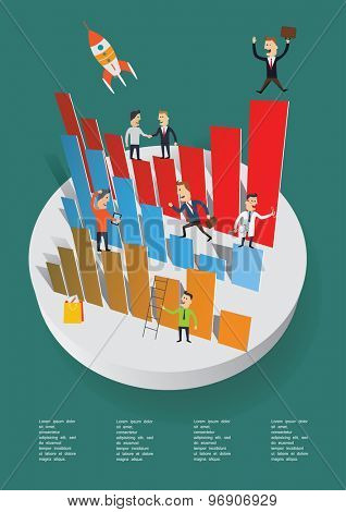 Business people on the bar graph. Vector concept.