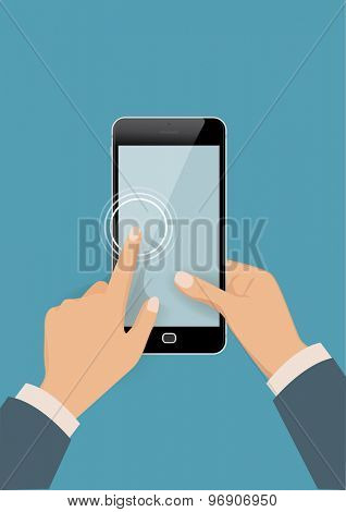Hands holding smart phone. Using mobile smart phone