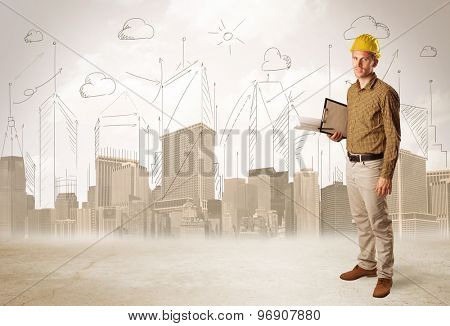 Business engineer planing at construction site with city background concept