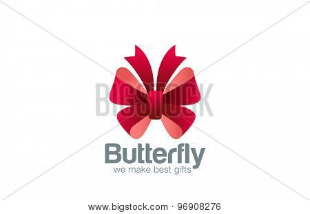 Gift Bow as Butterfly Logo design vector template icon. Use as Logotype for event, gift packing, fashion, wedding and other ceremonies.