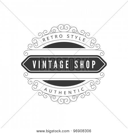 Vintage Label design vector template. Retro badge with floral decor such as hipster logo.