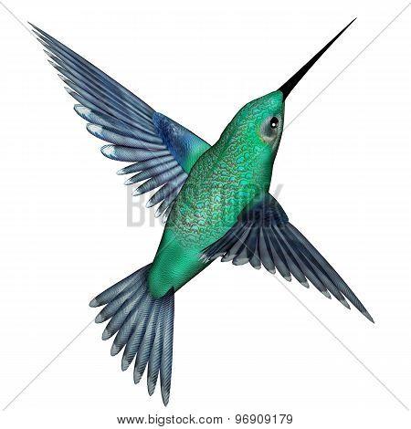 Emerald hummingbird - 3D render