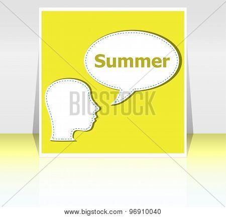 Speech Bubble With Man Head Silhouette, Summer Word On It