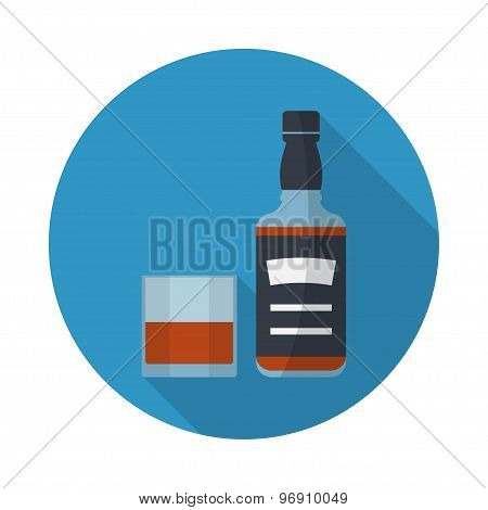 Whiskey Bottle And Glass Of Whiskey Icon.