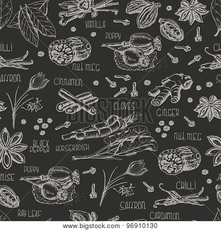 Seamless pattern with spices on a dark background