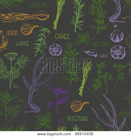 Seamless pattern with colored herbs and spices on a dark background