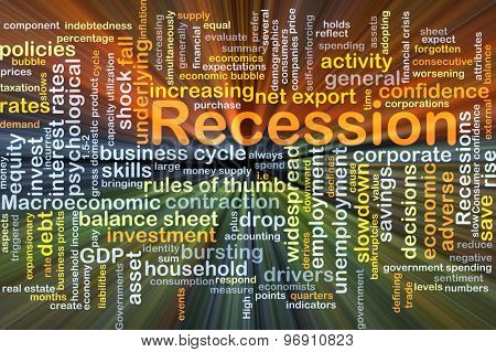 Background concept wordcloud illustration of recession glowing light