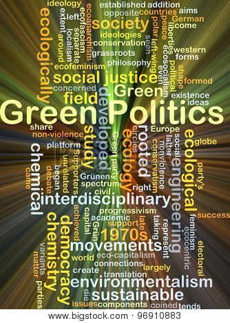 Background concept wordcloud illustration of green politics glowing light
