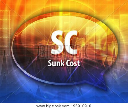 word speech bubble illustration of business acronym term SC Sunk Cost