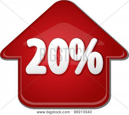 Upwards success glossy red arrow percent pointing up twenty 20