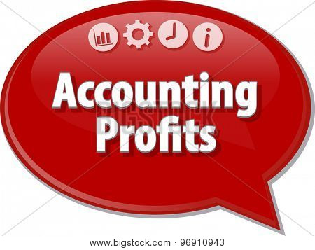 Speech bubble dialog illustration of business term saying Accounting profits