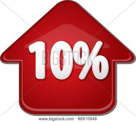 Upwards success glossy red arrow percent pointing up ten 10