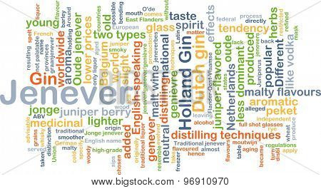 Background concept wordcloud illustration of jenever