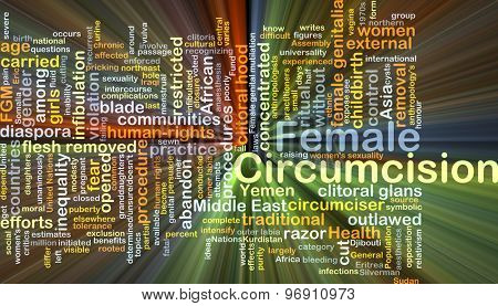 Background concept wordcloud illustration of female circumcision glowing light