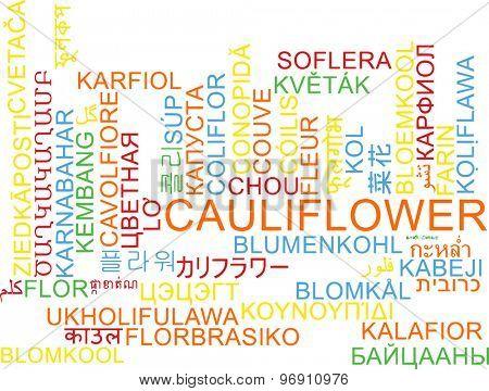 Background concept wordcloud multilanguage international many language illustration of cauliflower
