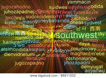 Background concept wordcloud multilanguage international many language illustration of southwest glowing light