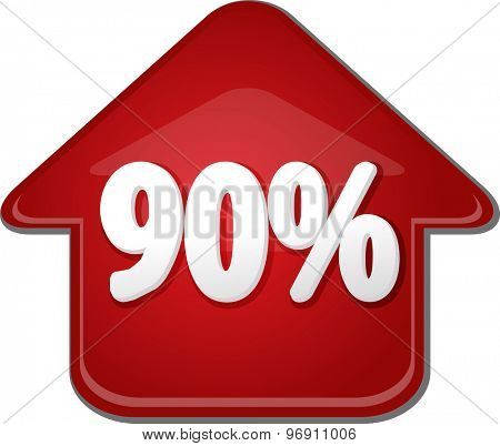Upwards success glossy red arrow percent pointing up ninety 90
