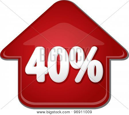 Upwards success glossy red arrow percent pointing up forty 40