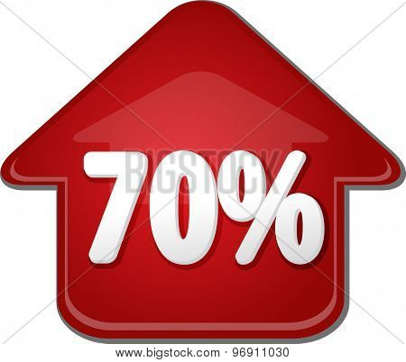 Upwards success glossy red arrow percent pointing up seventy 70