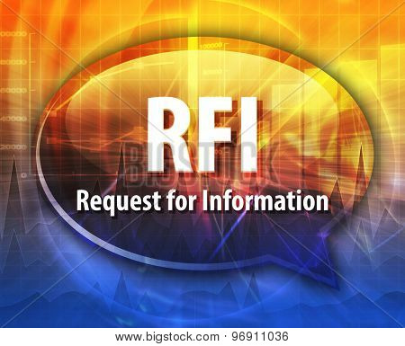 word speech bubble illustration of business acronym term RFI Request For Information