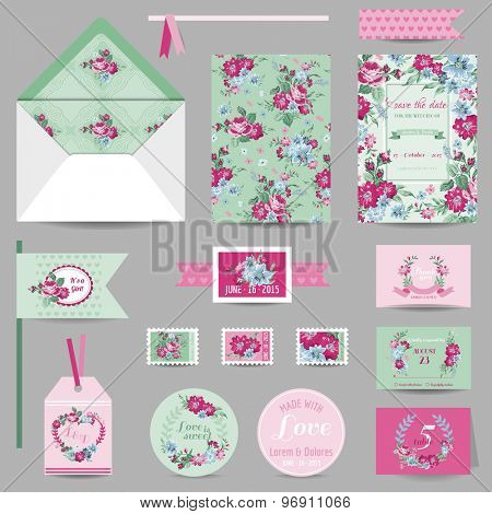 Set of Wedding Stationary - Invitation Card, Save the Date, RSVP - with Shabby Chic Roses Background - in vector