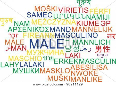 Background concept wordcloud multilanguage international many language illustration of male