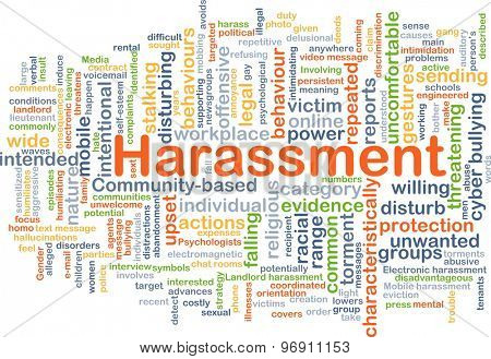 Background concept wordcloud illustration of harassment