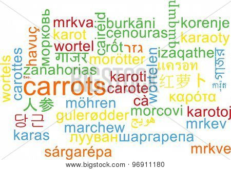 Background concept wordcloud multilanguage international many language illustration of carrots
