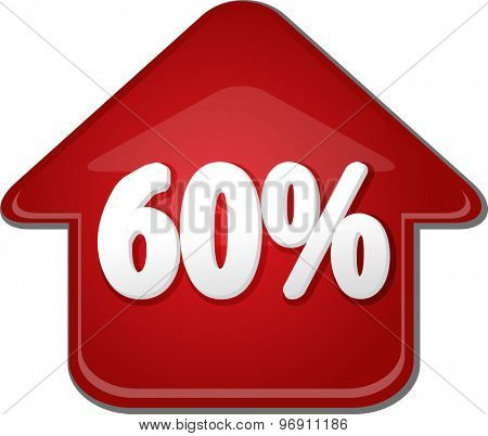 Upwards success glossy red arrow percent pointing up sixty 60