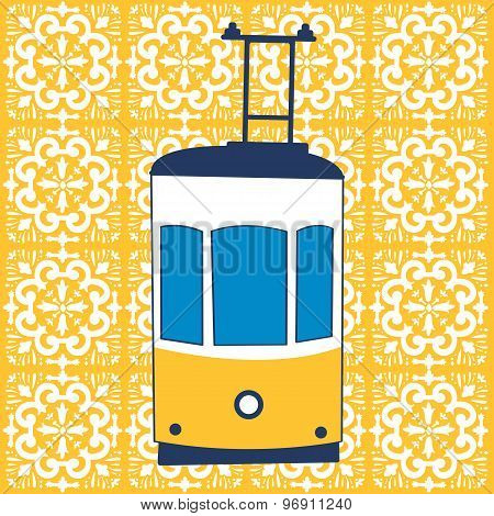 Colorful illustration of traditional Lisbon tram