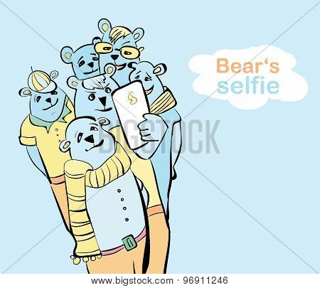hand painted bear selfie. many bears do self photo.