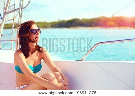 Happy Young Woman Enjoys Summer Vacation In Sea Cruise