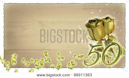 birthday concept with golden roses and star particles