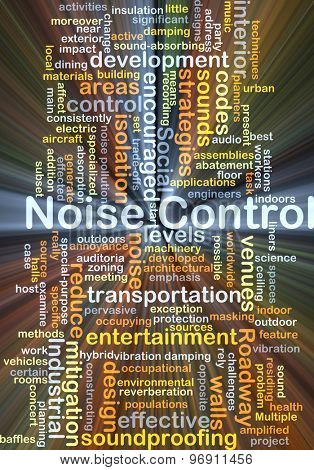 Background concept wordcloud illustration of noise control glowing light