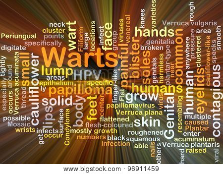 Background concept wordcloud illustration of warts glowing light