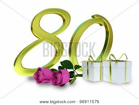 birthday concept with pink roses - 80 th