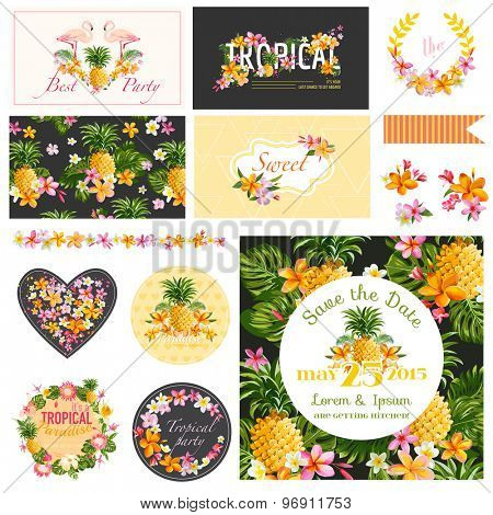 Baby Shower Tropical Theme - Scrapbook Design Elements, Backgrounds - in vector