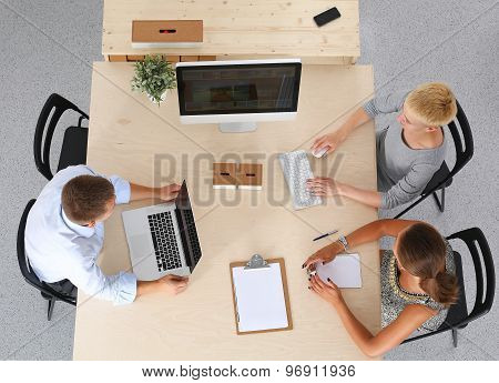 Group of business people working together