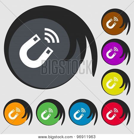 Magnet Icon Sign. Symbol On Eight Colored Buttons. Vector