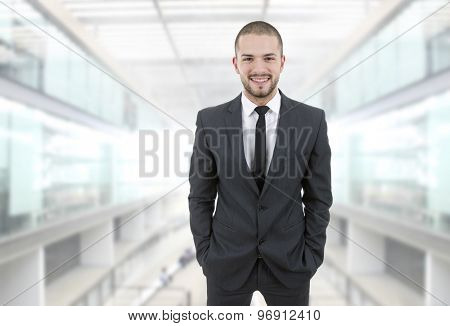 happy young businessman at the office