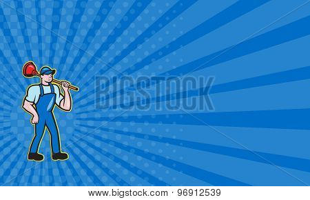 Business Card Plumber Holding Plunger Standing Cartoon