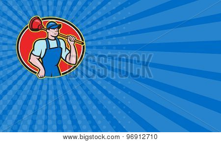Business Card Plumber Holding Plunger Cartoon