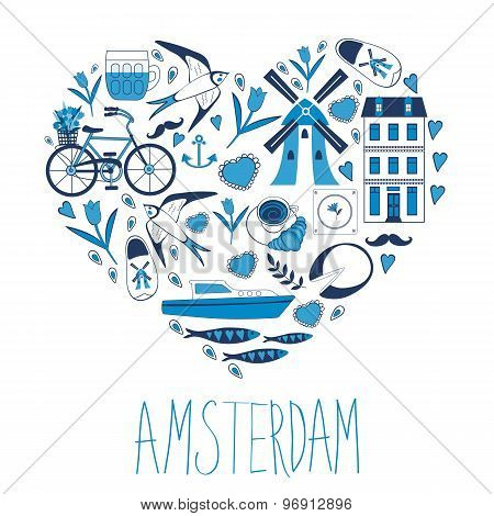 Travel concept card. Illustration of love for Amsterdam