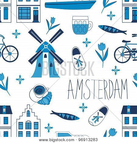 Colorful Amsterdam icons seamless pattern
