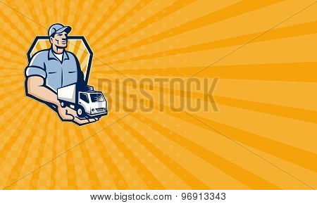Business Card Delivery Man Handing Removal Van Crest Retro
