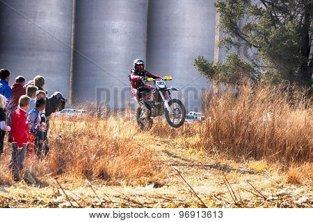 Hd - Motorbike Ramping Track During Rally Race.